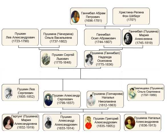 Картинки по запросу семейное древо пушкина